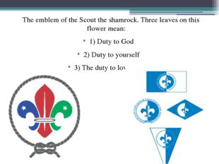 The emblem of the Scout the shamrock. Three leaves on this flower mean: 1) D