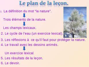 """La définition du mot """"la nature"""". Trois éléments de la nature. Les champs lex"""