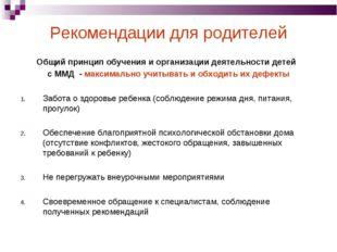 Рекомендации для родителей Общий принцип обучения и организации деятельности