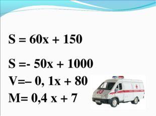 S = 60x + 150 S =- 50x + 1000 V=– 0, 1х + 80 M= 0,4 х + 7
