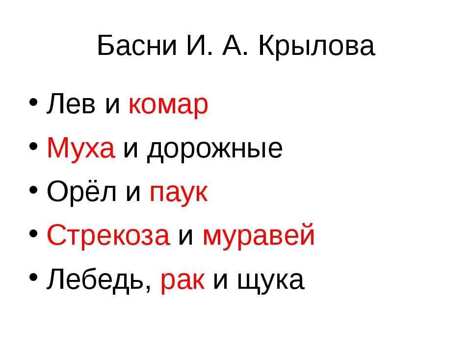 Басни И. А. Крылова Лев и комар Муха и дорожные Орёл и паук Стрекоза и мураве...