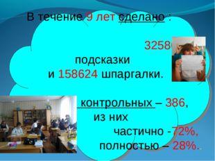 В течение 9 лет сделано : 325862 подсказки и 158624 шпаргалки. Списано контр