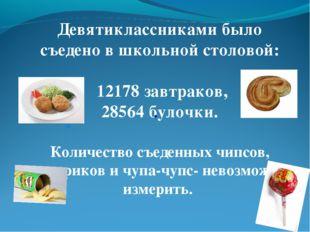 Девятиклассниками было съедено в школьной столовой: 12178 завтраков, 28564 бу