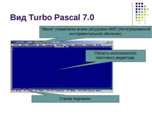 """Вид Turbo Pascal 7.0 """"Меню"""" управления всеми ресурсами ИИО (Интегрированной и"""