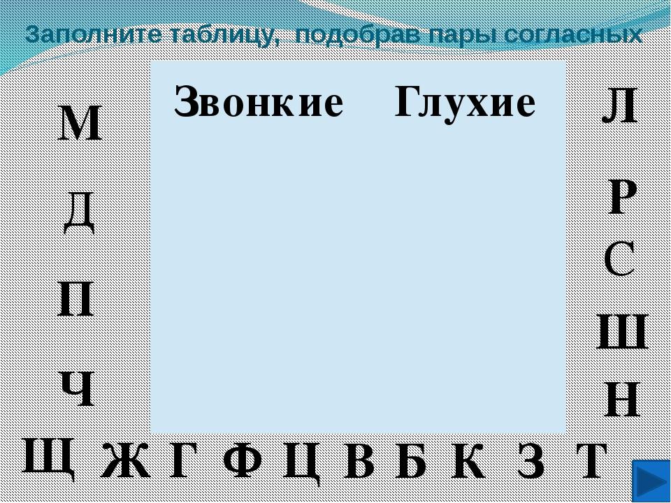 Заполните таблицу, подобрав пары согласных Глухие Звонкие П Ш Т З К Б В С Ф Г...