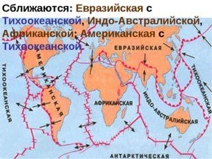 Сближаются: Евразийская с Тихоокеанской, Индо-Австралийской, Африканской; Аме