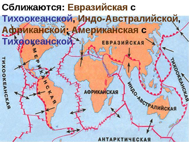 Сближаются: Евразийская с Тихоокеанской, Индо-Австралийской, Африканской; Аме...