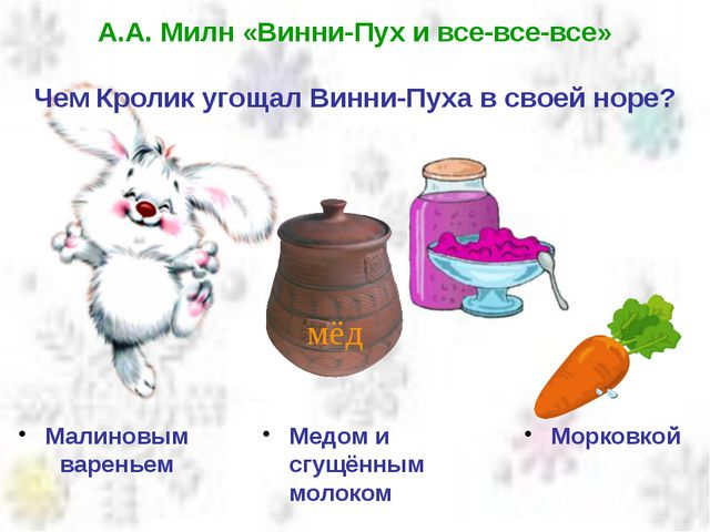А.А. Милн «Винни-Пух и все-все-все» Чем Кролик угощал Винни-Пуха в своей норе...