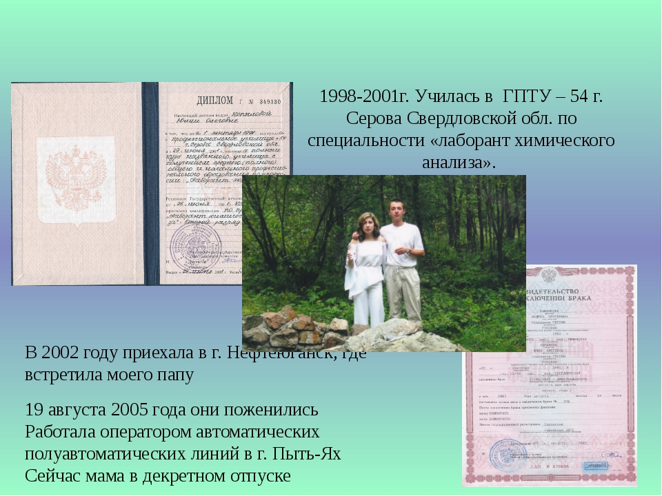 1998-2001г. Училась в ГПТУ – 54 г. Серова Свердловской обл. по специальности...