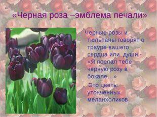 «Черная роза –эмблема печали» Черные розы и тюльпаны говорят о трауре вашего