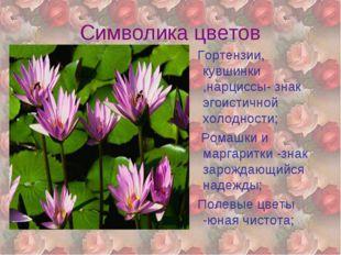 Символика цветов Гортензии, кувшинки ,нарциссы- знак эгоистичной холодности;