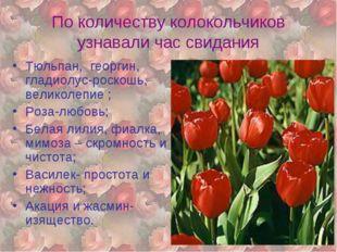 По количеству колокольчиков узнавали час свидания Тюльпан, георгин, гладиолус