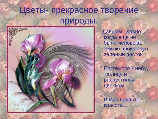 Цветы- прекрасное творение природы. Давным –давно , когда еще не было человек...