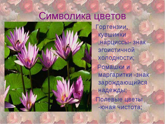 Символика цветов Гортензии, кувшинки ,нарциссы- знак эгоистичной холодности;...