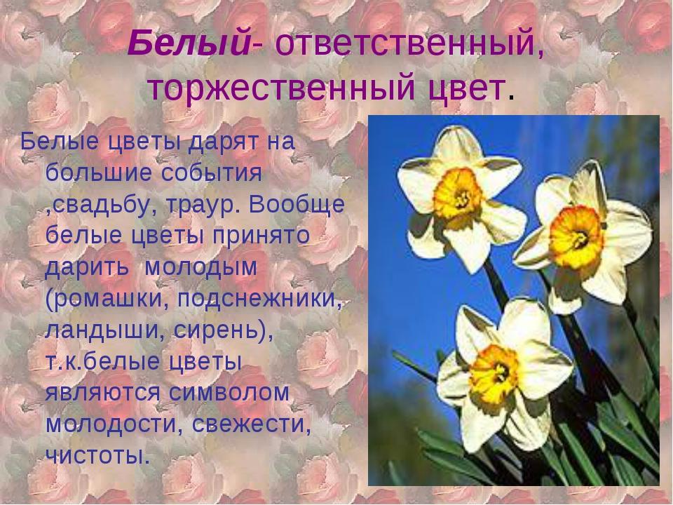 Белый- ответственный, торжественный цвет. Белые цветы дарят на большие событи...