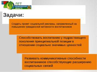 Задачи: Создать проект социальной рекламы, направленный на повышение гражданс