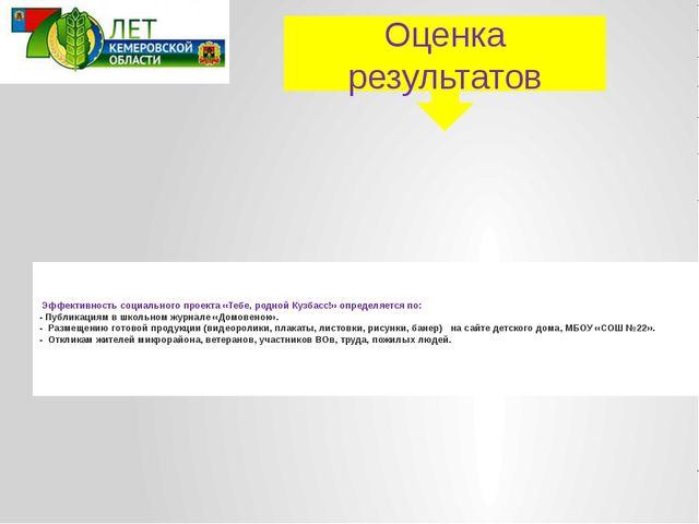 Эффективность социального проекта «Тебе, родной Кузбасс!» определяется по: -...