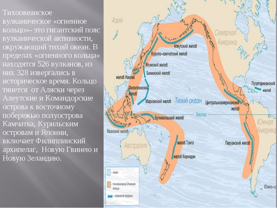 Тихоокеанское вулканическое «огненное кольцо»- это гигантский пояс вулканичес...