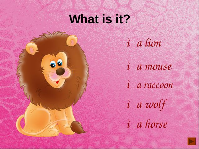 What is it? ◦a lion ◦a mouse ◦a horse ◦a raccoon ◦a wolf