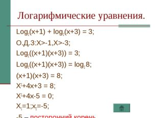 Логарифмические уравнения. Log2(x+1) + log2(x+3) = 3; О.Д.З:X>-1,X>-3; Log2((