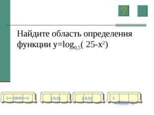 Найдите область определения функции y=log0,5( 25-x2) (-∞;-5]U[5;+∞) (-5;5) [-