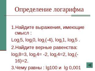 Определение логарифма 1.Найдите выражения, имеющие смысл : Log35, log50, log2