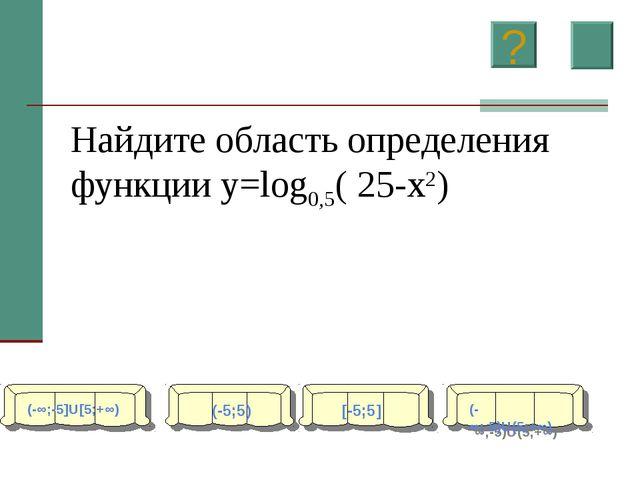 Найдите область определения функции y=log0,5( 25-x2) (-∞;-5]U[5;+∞) (-5;5) [-...