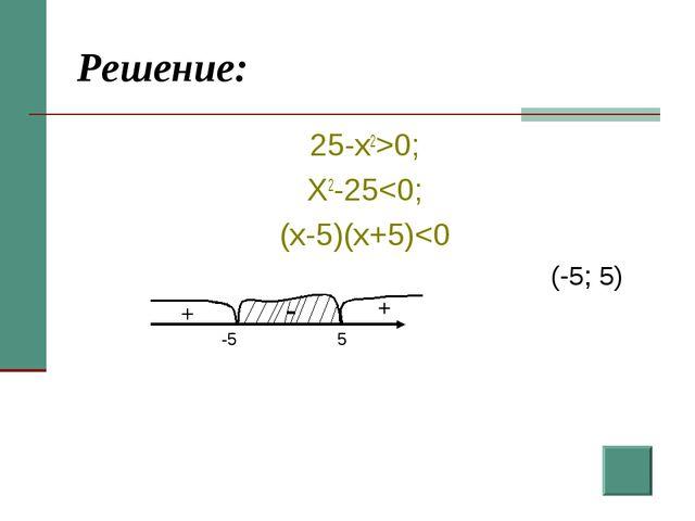 Решение: 25-x2>0; X2-25