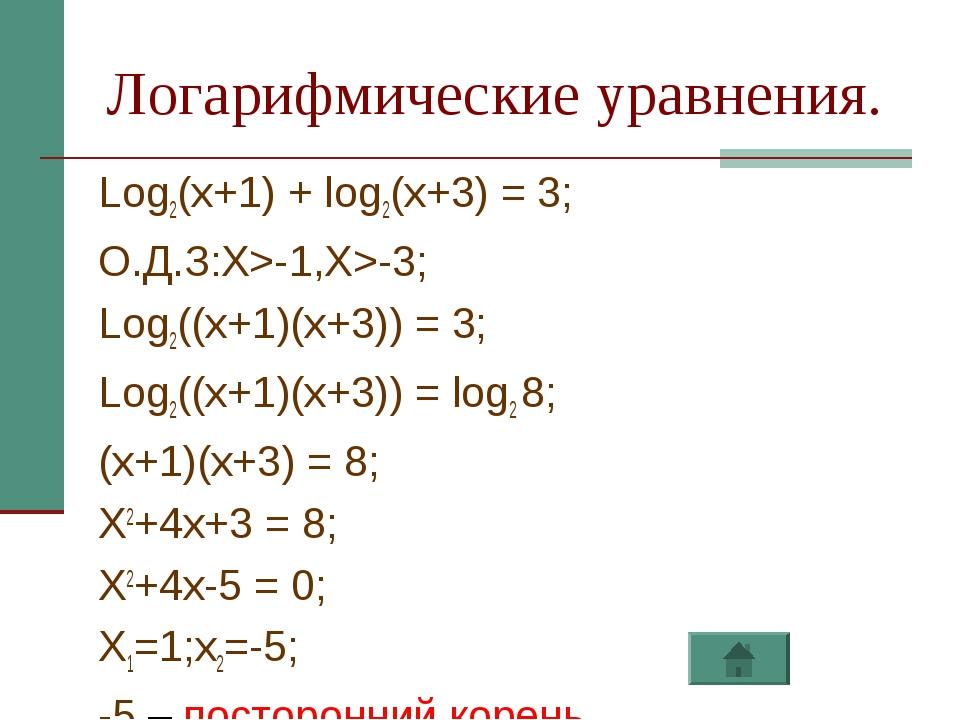 Логарифмические уравнения. Log2(x+1) + log2(x+3) = 3; О.Д.З:X>-1,X>-3; Log2((...