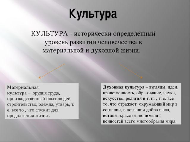 Культура КУЛЬТУРА - исторически определённый уровень развития человечества в...