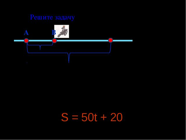 А В 20 км ? Решите задачу S = 50t + 20