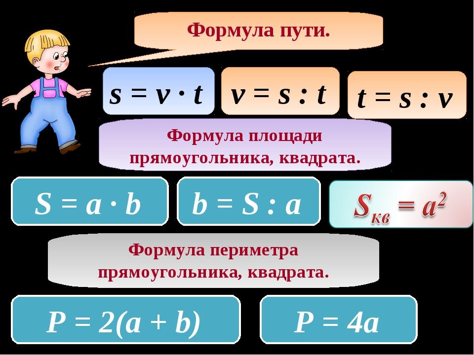Формула пути. s = v ∙ t v = s : t t = s : v Формула площади прямоугольника, к...