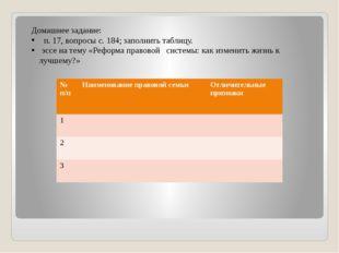 Домашнее задание: п. 17, вопросы с. 184; заполнить таблицу. эссе на тему «Ре