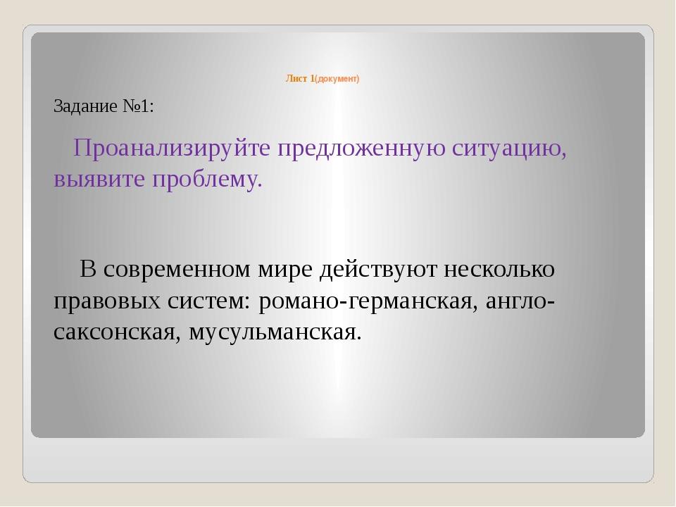 Лист 1(документ) Задание №1: Проанализируйте предложенную ситуацию, выявите...