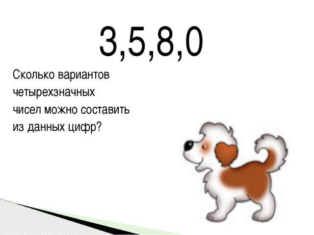3,5,8,0 Сколько вариантов четырехзначных чисел можно составить из данных цифр?