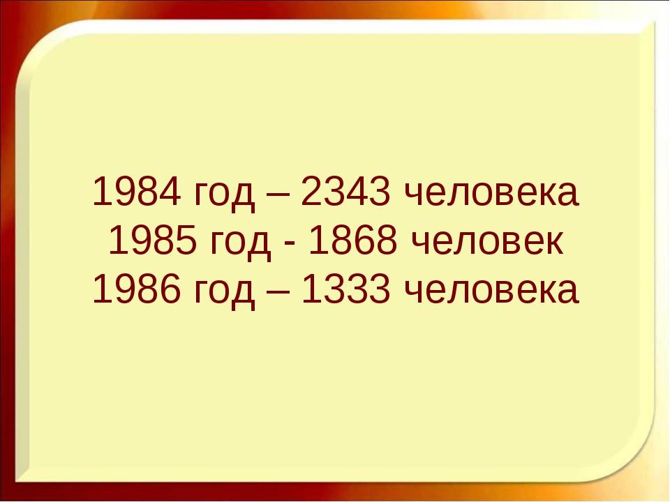 1984 год – 2343 человека 1985 год - 1868 человек 1986 год – 1333 человека