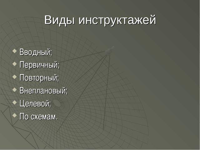 Виды инструктажей Вводный; Первичный; Повторный; Внеплановый; Целевой; По схе...