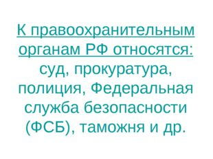К правоохранительным органам РФ относятся: суд, прокуратура, полиция, Федерал