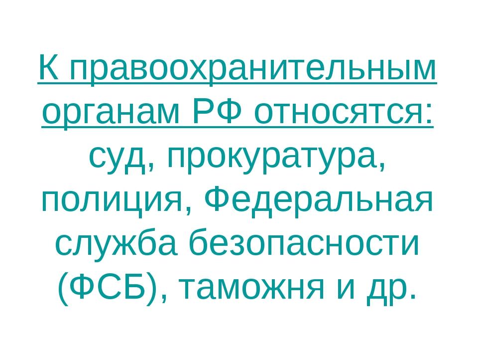 К правоохранительным органам РФ относятся: суд, прокуратура, полиция, Федерал...