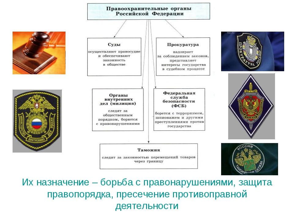 Их назначение – борьба с правонарушениями, защита правопорядка, пресечение п...