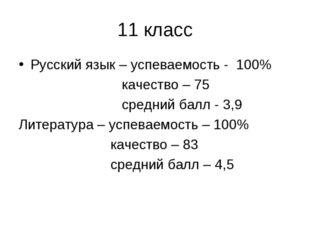 11 класс Русский язык – успеваемость - 100% качество – 75 средний балл - 3,9