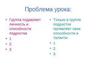 Проблема урока: Группа подавляет личность и способности подростка 1 2 3 Тольк