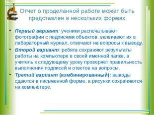 Отчет о проделанной работе может быть представлен в нескольких формах Первый