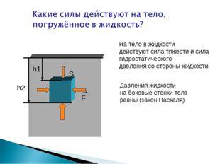 h1 h2 S F На тело в жидкости действуют сила тяжести и сила гидростатического