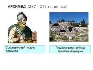 Средневековый портрет Архимеда Предполагаемая гробница Архимеда в Сиракузах