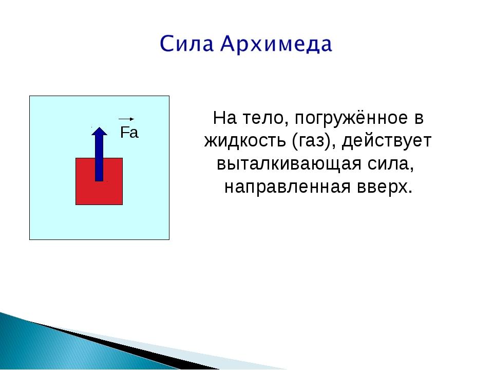 Fа На тело, погружённое в жидкость (газ), действует выталкивающая сила, напра...