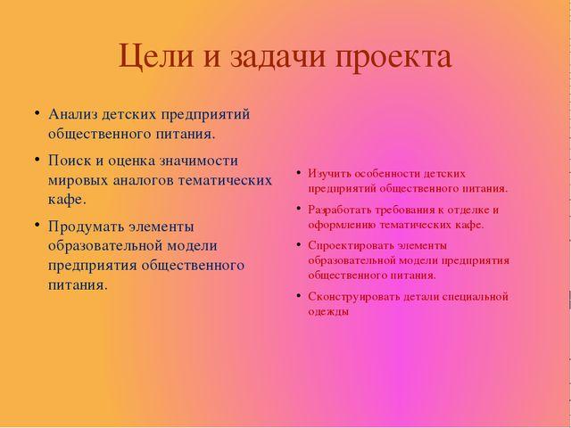 Цели и задачи проекта Анализ детских предприятий общественного питания. Поиск...