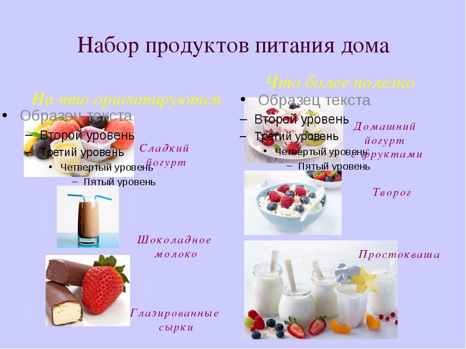 Набор продуктов питания дома На что ориентируются Что более полезно Сладкий й...