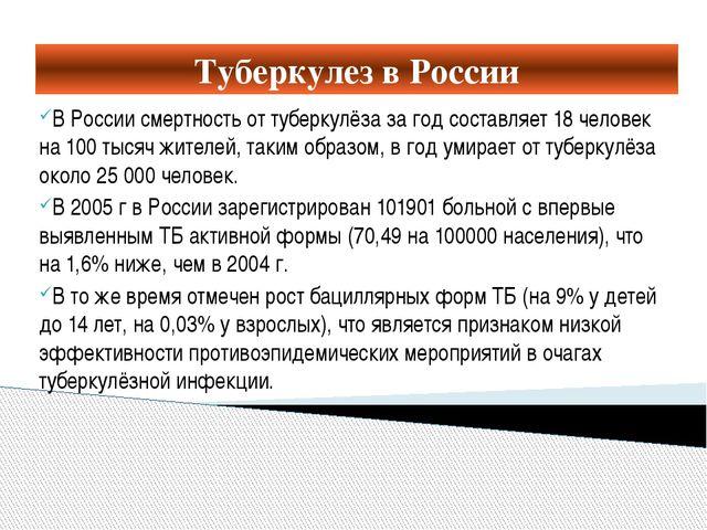 Туберкулез в России В России смертность от туберкулёза за год составляет 18 ч...