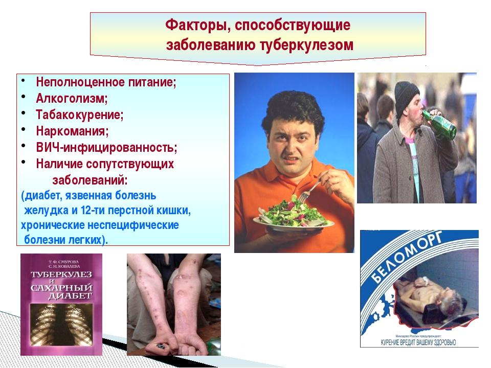 Факторы, способствующие заболеванию туберкулезом Неполноценное питание; Алког...